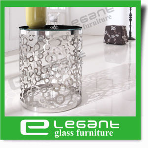 Round Stainless Steel Side Table with Tempered Glass Top pictures & photos