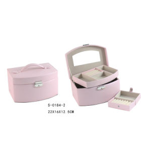 Handmade Multi-Function Pink PU Jewelry Box with Travel Case Inside pictures & photos