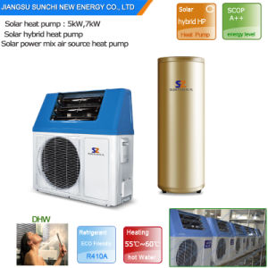 Family Dhw 60c High Efficiency Save 80% Electric Cop5.32 Tankless 5kw, 7kw, 9kw 220V Split Heat Pump Hybrid Solar Air Heat System pictures & photos