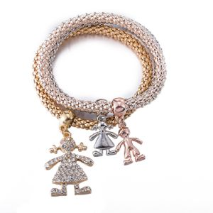 Wholesale Fashion Zircon Diamond Multilayer Human Shaped Bracelet Bangle Jewelry pictures & photos