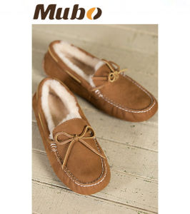Sheepskin Women Casual Moccasin Loafer Shoes pictures & photos