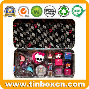 Hinged Metal Cosmetic Tin Container for Makeup Kit pictures & photos