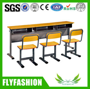 Wooden Double Desk and Chair for Classroom (SF-01D) pictures & photos