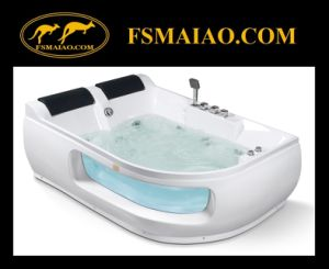 Luxury Double Seats Acrylic Jacuzzi Bathtub with Tempered Glass (MG-104) pictures & photos