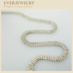 3 Rows Brilliant Silver Plated Rhinestone Cup Chain pictures & photos