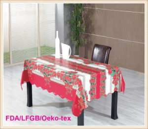 PVC Printed Tablecloth with Flannel Backing for Christmas Style pictures & photos