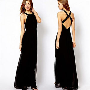 2015 Fashion Cross Backless Halter Chiffon Maxi Party Dress (14317) pictures & photos