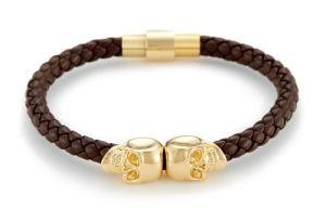 Gold Plated Twin Skull Bracelet