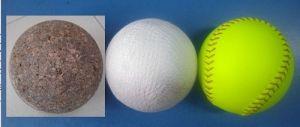 "11"" Cork Core PVC White Leather and PVC Luminous Yellow 1 Leather Softball"