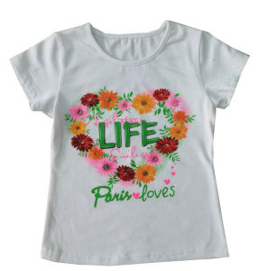 Flower Heart Kids Girl T-Shirt in Children′s Clothing Sgt-050 pictures & photos