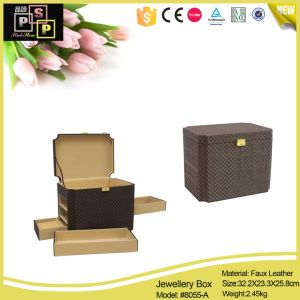 Brown Leather Storage Jewelry Box with Hidden Drawer (8055) pictures & photos