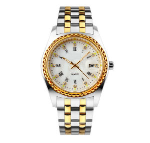 Christmas Gift Bussiness Gold Color Men Wristwatch