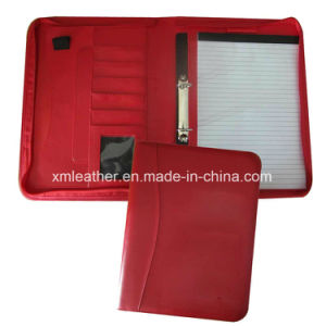 Red Color New Design Leather Portfolio Folder Binder with Notepad pictures & photos