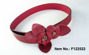 Rose Red PU Belt with Flower pictures & photos