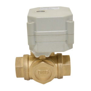 3 Way Electric Flow Control Brass Water Ball Valve Ce/RoHS Motorized Shut off Valve with Manual Operation pictures & photos