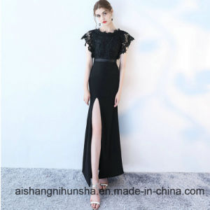 Sexy Formal Black Lace Long Mermaid Evening Dresses pictures & photos