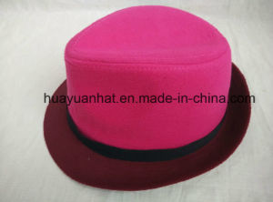 100%Wool with Rose Red Fedora Hats