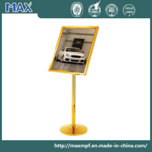 Hotel Lobby Metal Menu Sign Holder with Golden Color pictures & photos