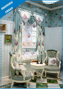 Europe Style Flower Polyester Print Window Curtain pictures & photos