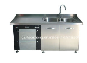 Hotel Metal Kitchen Cabinet with Wash Sink (HS-031) pictures & photos