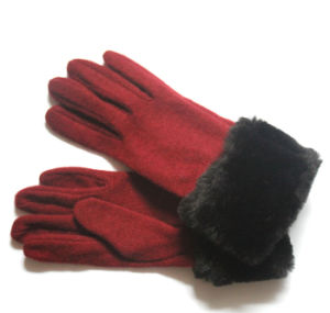 Women Fashion Fur Wool Nylon Knitted Winter Warm Gloves (YKY5469-2) pictures & photos