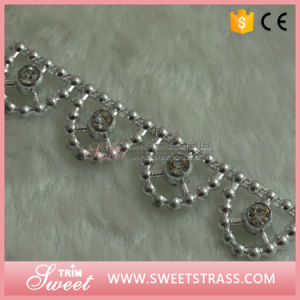 Plastic Silver Flower Ribbon with Clear Rhinestone Set pictures & photos