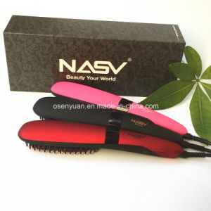 100% Original Anion Straight Comb Auto LCD Brush Beauty Star Nasv-300 Hair Straightener Brush Negative Ions Hair Straight Brush pictures & photos