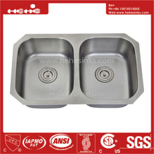 34-3/4X 21 Inch Stainless Steel Under Mount Double Bowl Kitchen Sink with CSA Certification pictures & photos