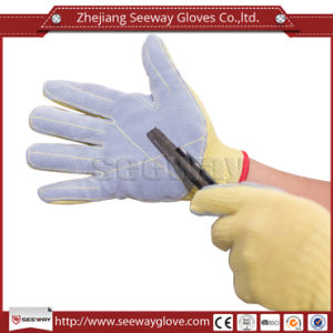 Seeway Protective PARA-Aramid Gloves Fireproof Cut Resistant PARA-Aramid Gloves with Cow Leather Sewing