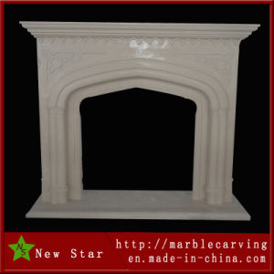High Polish Glossy Marble Stone Fireplace Mantel pictures & photos