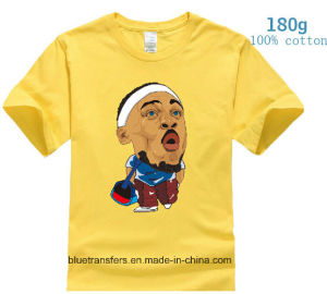 Men′s Short Sleeve T-Shirts 180GSM 100% Cotton with Heat Transfer Printing pictures & photos
