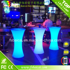 PE Plastic Wedding Colorful LED Cocktail Bar Table for Nightclub
