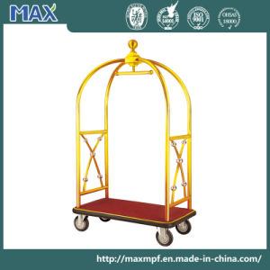 Unique Stainless Steel Lobby Porters Bellman Concierge Luggage Cart Trolley pictures & photos