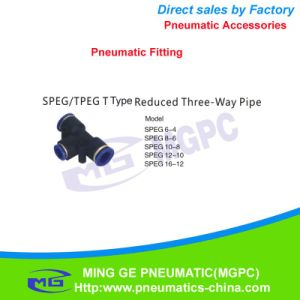 T Type Three Way Reduced Pneumatic Pipe Fitting for Fast Connector (SPEG6-4 SPEG8-6 SPEG10-8 SPEG12-10 SPEG16-12)