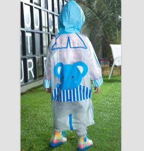 Blue and Transparent Elephant PVC Rain Jacket