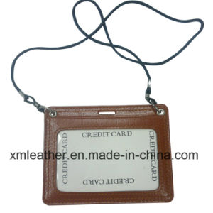 Leather Neck Strap ID Badge Credit Card Holder Pouch Case pictures & photos