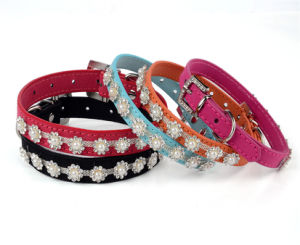 Royal Pearl Rhinestones Pet Leads Luxury Dog Leather Collars pictures & photos