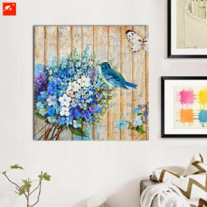 Blue Bouquet Wood Wall Art Flowers Birds Oil Painting pictures & photos