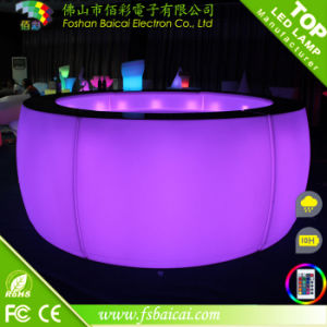 Full Rounded Glowing Table with a Shelf (BCR-864T)