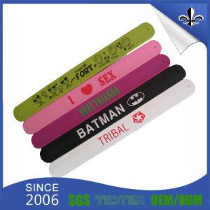 Fashion Custom Printed Logo 100% Silicone Slap Wristband pictures & photos