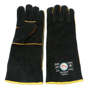 Black Cowhide Heat Resistant Hand Protective Welding Gloves with Ce pictures & photos