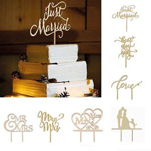 Just Married Wooden Cake Toppers Party Cake Decorating Wedding Favors pictures & photos