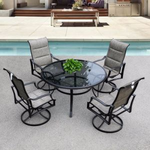 Patio Outdoor Aluminum Textilene Water Lines Glass Swivel Table and Chair (J802) pictures & photos