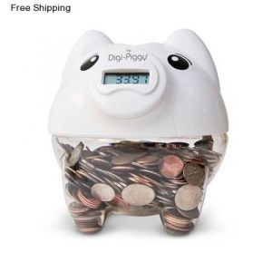 Digital Piggy Bank Money Coin Counter Clear Pig Jar Plastic White Unique Gift pictures & photos