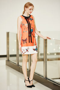 Sleeveless Border Print Shift Dress with Neck Tie pictures & photos