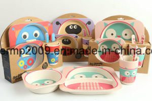 Biodegradable Healthy Bamboo Fiber 5 PCS Kids Tableware Feeding Set pictures & photos