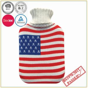 Hot Water Bottle with Flag Design Knitted Cover pictures & photos
