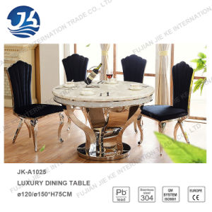 Luxury Sea Shell Edge Top Marble Dining Room Round Rotary Table pictures & photos