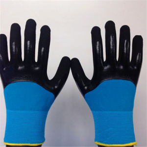 Two Layer Gloves with 3/4 Sandy Nitrile Coating pictures & photos