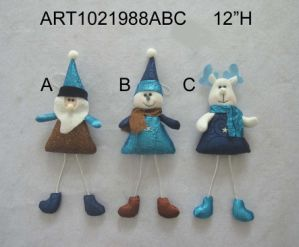 Santa, Snowman and Moose Christmas Tree Ornament, 3 Asst pictures & photos